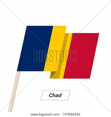 Chad Ribbon Waving Flag Isolated on White. Vector Illustration. Chad Flag with Sharp Corners