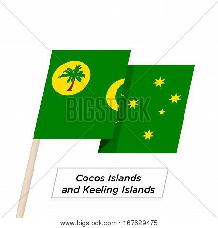 Cocos Islands and Keeling Islands Ribbon Waving Flag Isolated on White. Vector Illustration. Cocos Islands and Keeling Islands Flag with Sharp Corners