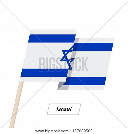 Israel Ribbon Waving Flag Isolated on White. Vector Illustration. Israel Flag with Sharp Corners