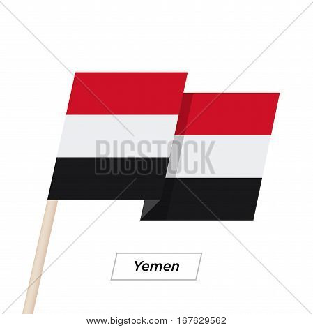 Yemen Ribbon Waving Flag Isolated on White. Vector Illustration. Yemen Flag with Sharp Corners