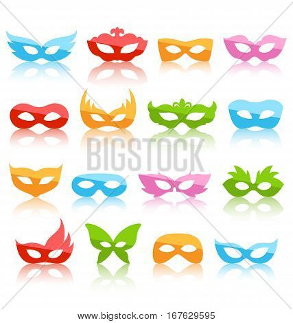 Set Collection of Glassy Colorful Carnival Masquerade Masks with Reflection Icons Isolated on White Background
