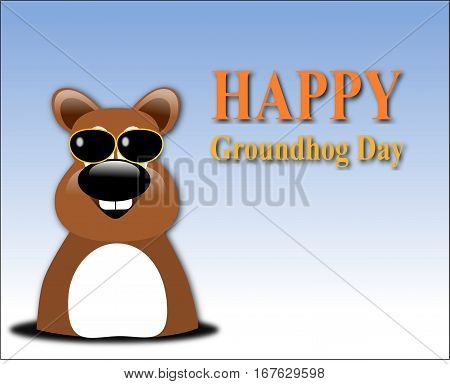 Happy Groundhog Day Design With Cute Groundhog  And Glass