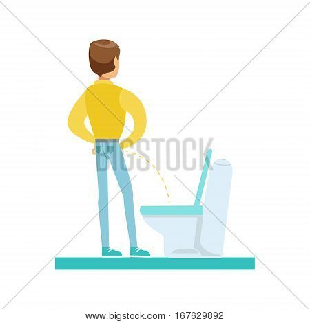 Man Peeing In The Tolet, Part Of People In The Bathroom Doing Their Routine Hygiene Procedures Series. Person Using Lavatory Room For The Daily Washing And Personal Cleanup Vector Illustration.