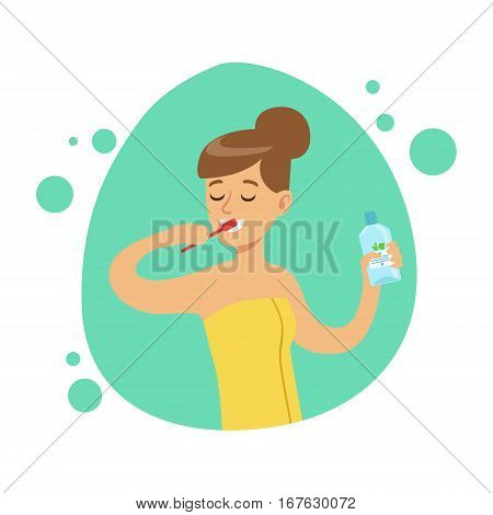 Woman Brushing Teeth, Part Of People In The Bathroom Doing Their Routine Hygiene Procedures Series. Person Using Lavatory Room For The Daily Washing And Personal Cleanup Vector Illustration.