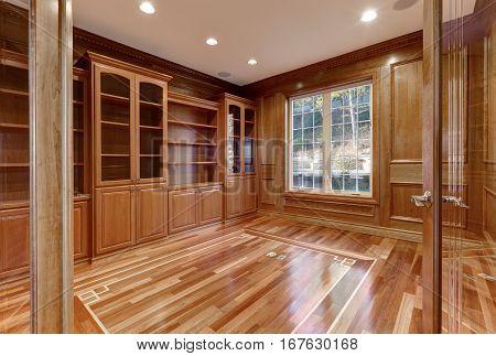 Wooden Interior Of Empty Room In Luxury Home