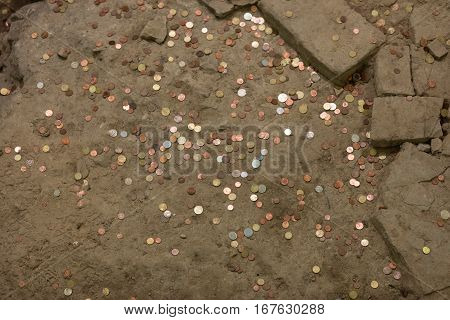 pennies on offer in the ground, Florence,Italy