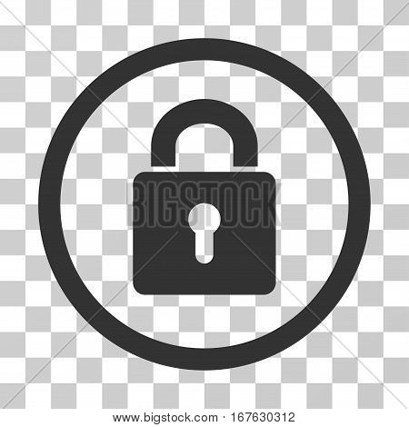 Lock Keyhole rounded icon. Vector illustration style is flat iconic symbol inside a circle gray color transparent background. Designed for web and software interfaces.