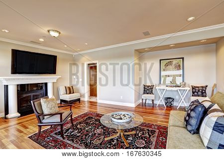 Lovely Beige Family Room With Cozy Sitting Area In Wall Niche