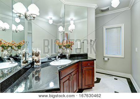 Soft Grey Bathroom Interior Boasts Mosaic Marble Floor