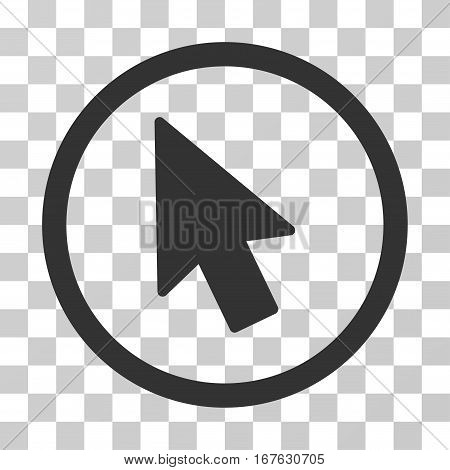 Mouse Pointer rounded icon. Vector illustration style is flat iconic symbol inside a circle gray color transparent background. Designed for web and software interfaces.
