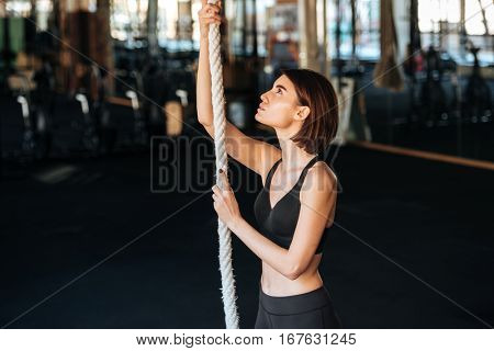 Concentrated young fitness woman climbing on the rope in gym