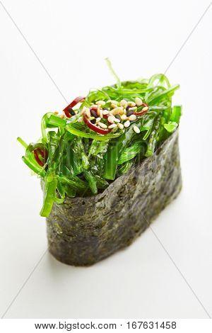 Japanese Sushi - Chuka Seaweed Gunkan Sushi  on White Background