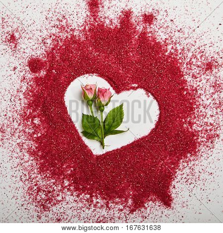 Love Concept - Creative Valentines Day Background with Heart Shape and Natural Flower. Wedding Day. Minimal Love Concept. Top View. Flat Lay