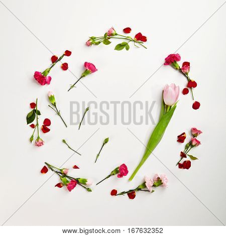 Creative Round Frame with Natural Flower. Wedding Day. Minimal Love Concept. Top View. Flat Lay