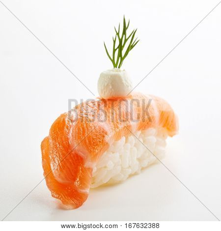 Japanese Sushi - Sake Nigiri Sushi (Salmon Sushi) with Cream Cheese on White Background