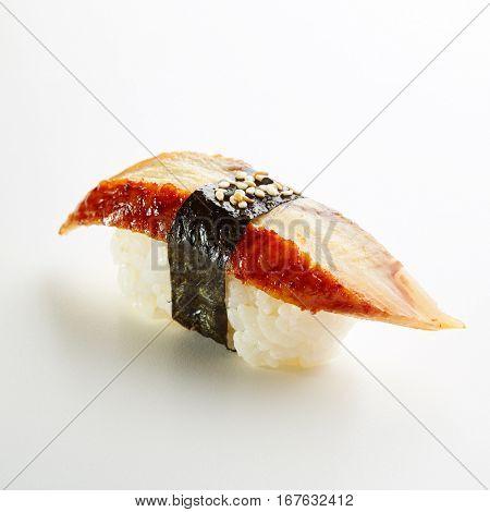 Japanese Sushi - Unagi Nigiri Sushi (Eel Sushi) on White Background