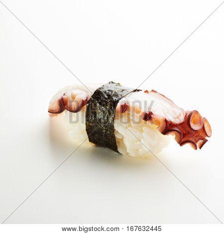 Japanese Sushi - Tako Nigiri Sushi (Octopus Sushi) on White Background