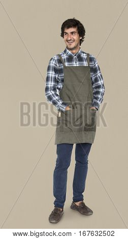 Caucasian Man Apron Cheerful Concept