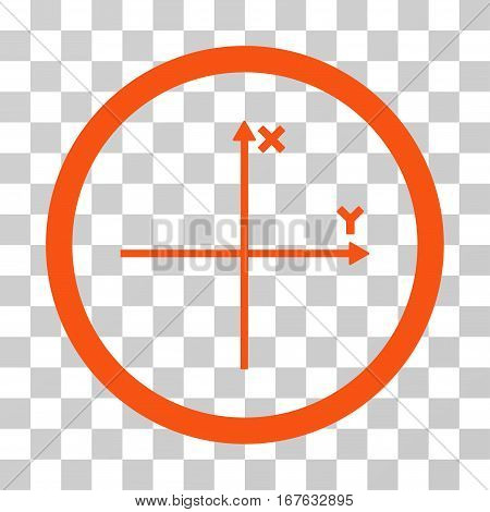 Coordinate Axis rounded icon. Vector illustration style is flat iconic symbol inside a circle orange color transparent background. Designed for web and software interfaces.