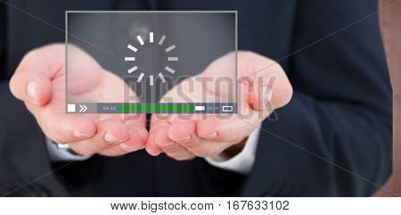 Close up of hand of a businessman against creative office with cool wooden paneling 3d