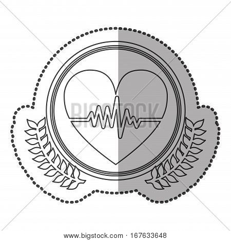 middle shadow sticker monochrome with olive crown with heart with line of vital sign in circle vector illustration