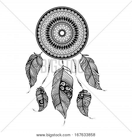 Vector Illustration Dreamcatcher With Ethnic Feathers. Painted By Hand In The Doodle.dreamcatcher Is