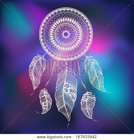 Vector Illustration Dreamcatcher With Ethnic Feathers. Painted By Hand In The Doodle.white Dreamcatc