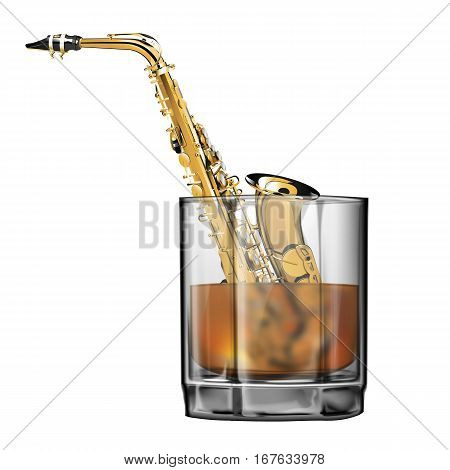stock vector saxophone in a glass of whiskey