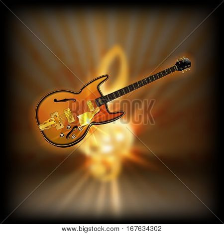 Jazz guitar on a blurred background of golden treble clef with flash. Achieved with a black background can be used with any image or text.