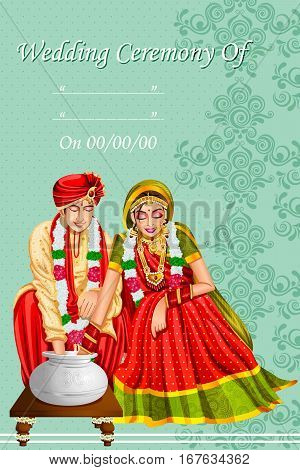 Vector design of Indian couple playing Ring Fishing game in wedding ceremony of India