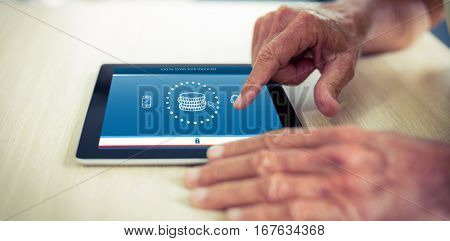 Web against male using digital tablet at table