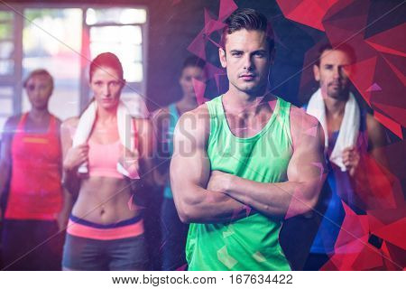 Portrait of serious friends standing in gym