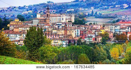 Pictorial medieval village(borgo) Castiglione d'Asti in Piemonte, vine region of Italy