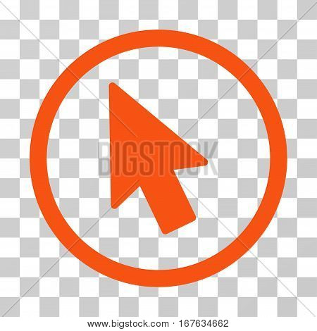 Mouse Pointer rounded icon. Vector illustration style is flat iconic symbol inside a circle orange color transparent background. Designed for web and software interfaces.