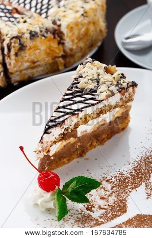 Delicious banana cake on a white plate