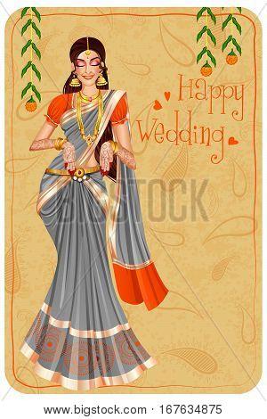 Vector design of Indian woman bride in wedding Mehandi ceremony of India