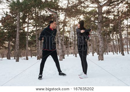 Couple enjoying time together while exercising outdoors