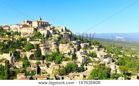 view of hilltop village Gordes France, summer day