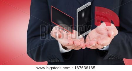 Close up of hand of a businessman against red vignette 3d