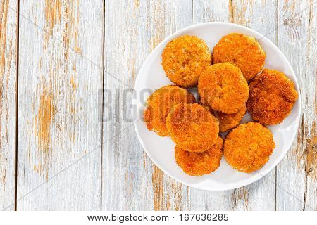 Meat Cutlets On White Plate, View From Above