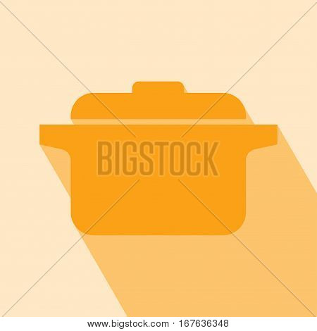 Pot Icon. Vector illustration. Elements for design. Pot Icon on orange background.