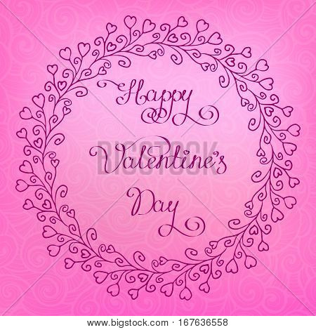 vector round hand drawing frame branch with hearts lettering happy valentine day whorl pattern on background