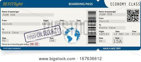 Dark blue vector template of boarding pass tickets. Concept of trip or travel
