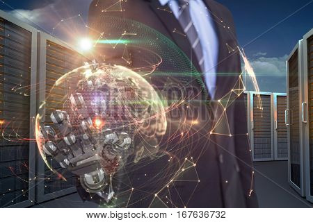 Computer graphic image of businessman with robotic hand against global technology background in orange 3d