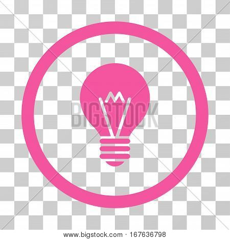 Hint Bulb rounded icon. Vector illustration style is flat iconic symbol inside a circle pink color transparent background. Designed for web and software interfaces.