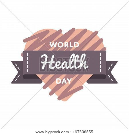 World Health day emblem isolated vector illustration on white background. 7 april world healthcare holiday event label, greeting card decoration graphic element