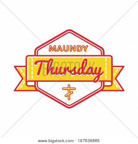 Maundy Thursday emblem isolated vector illustration on white background. 13 april world orthodox and catholic holiday event label, greeting card decoration graphic element