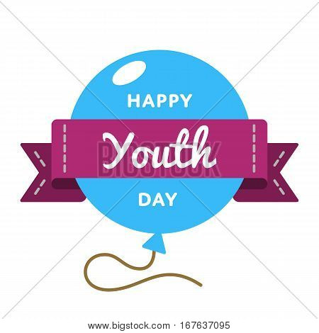 Happy Youth day emblem isolated vector illustration on white background. 24 april world cultural holiday event label, greeting card decoration graphic element