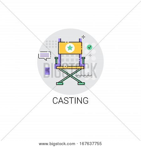 Casting Camera Film Production Industry Icon Vector Illustration