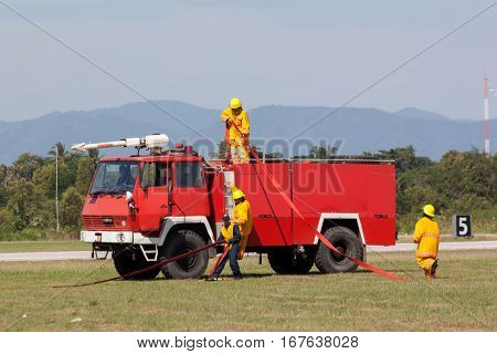 PRACHUAPKIRIKHAN THAILAND - JAN 14 2017: Firefighter in action show from Air Force in children's day